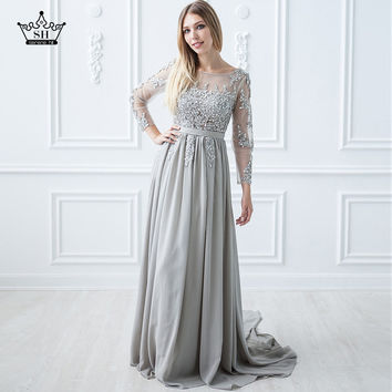Gray Beading Crystal Formal Long Sleeve backless elegant evening dresses long Prom Custom Size  Party Dress  2017 Evening Dress