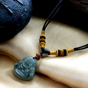 Live in Joy Cute Happy Buddha Carved Jadeite Jade amulet Necklace- Fortune Buddha Jewelry