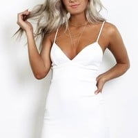 Just Watch Ivory Deep Neck Flare Dress