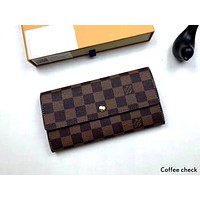 LV tide brand female long button wallet card package coffee check