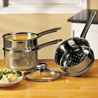 4-Pc Double Boiler & Steamer Pot Set @ Fresh Finds