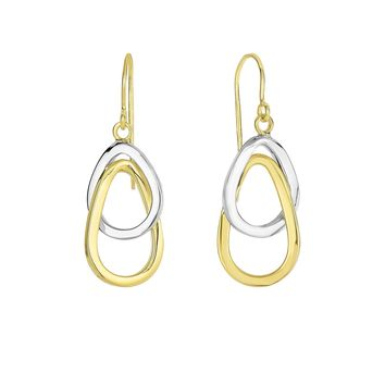 14K Yellow And White Gold Hanging Tear Drop Earrings