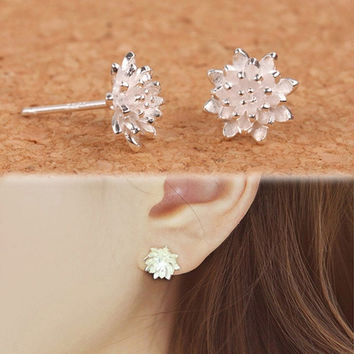 2016 Cute Women's 925 Sliver Lotus Flower Ear Stud Earrings Jewellery New 0585 [9791250127]