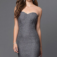 Knee Length Silver Strapless Semi Formal Dress