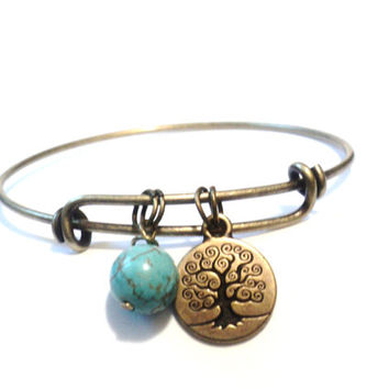 Tree of Life Bangle Bracelet Yoga Jewellery Turquoise Charm Bohemian Boho Adjustable Gift For Her Christmas Stocking Stuffer Under 20