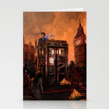 10th Doctor who trapped in the zombie land iPhone 4 4s 5 5s 5c, ipod, ipad, pillow case and tshirt Stationery Cards by Three Second