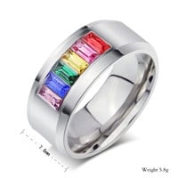 New Stainless Steel Womens/Mens Gay Pride Ring with Stone