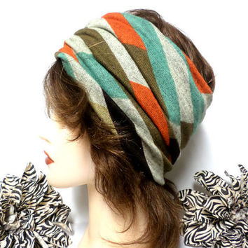Mint, Brown, Orange & Ivory Headwrap, Yoga Headband, Wide Headband, Running Headband, Workout Headband, Turban Headband, boho, scarf, wrap