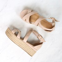Criss Cross Strappy Two Band Espadrilles Platform Sandal with Ankle Strap - Nude Suede