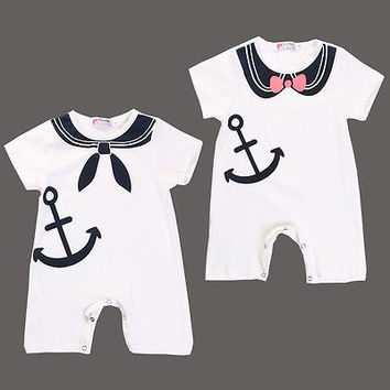 2016 New Fashion Newborn Baby Boy Girl Anchor Sailor Jumpsuit Playsuit Outfits Clothes Short Sleeve Summer 3 6 12 18 24 Monthes