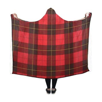 Wallace Tartan Scottish Plaid Hooded Blanket 60x48 Inch