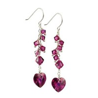 Swarovski Elements Crystal Heart and Bicone with Sterling Silver Earwire Drop Earrings: Jewelry: Amazon.com
