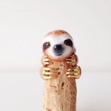 Mary Lou Enamel Brown Orange Sloth Ring Set Animal ring set Free Shipping