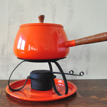 Vintage Orange Fondue Pot, Complete Set with Burner and Under Plate