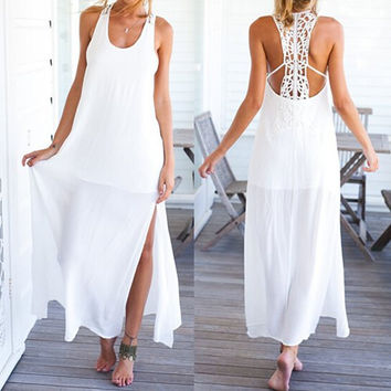 White Sleeveless Backless Cut Out Maxi Dress