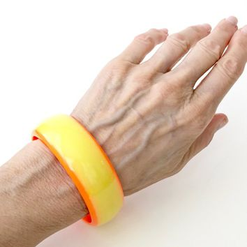 Lucite Bangle Bracelet Neon Orange And Yellow Wide Super Mod Plastic Bracelet Vintage 1960's Gift For Her