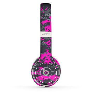The Bright Pink and Gray Digital Camouflage Skin Set for the Beats by Dre Solo 2 Wireless Headphones