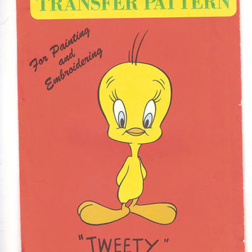 Vintage Tweety Bird Vogart Transfer Pattern, Cut, Warner Bros, Iron On, Embroidery, Painting, No. 3008, 1970s, Arts, Crafts