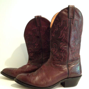 Vintage Men's Brown Quality Craftmanship Boulet Canada - Embossed Leather Cowboy Boots - 70s or 80s