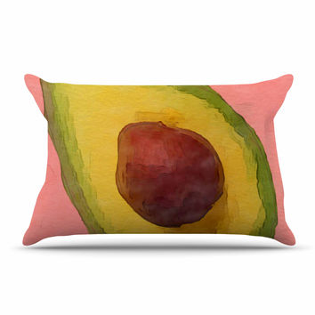 "Oriana Cordero  ""Avocado For Lola"" Green Pink Pillow Sham"