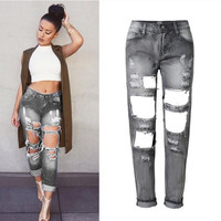 BF Beggar Style Ripped Holes Smoky Gray 9/10 Jeans