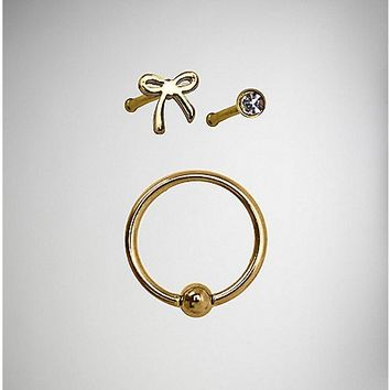 Bow CZ Stud and Hoop Nose Ring 3 Pack - 20 Gauge - Spencer's
