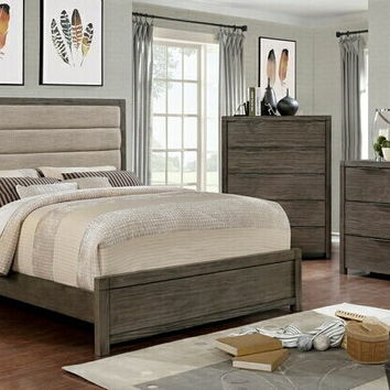 5 pc Ariella collection rustic gray finish wood with padded headboard queen bedroom set