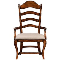 Upholstered Dining Armchair | Rustic walnut