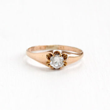 Antique 10k Rose Gold Filled Simulated White Sapphire Ring - Vintage Edwardian Art Deco Belcher Solitaire Clear Glass Stone Jewelry