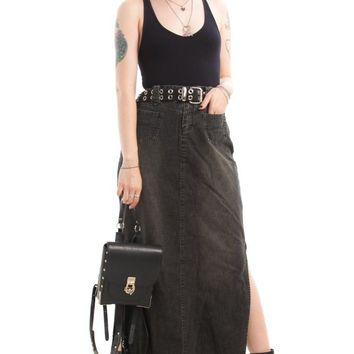 Vintage Y2K Country Goth Witch Denim Maxi Skirt - L
