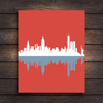 Newyork Wall Art, Newyork Print, New York poster, City Wall Print, City Print, City Poster, Nyc Wall Art,  City Skyline, Red Wall Art