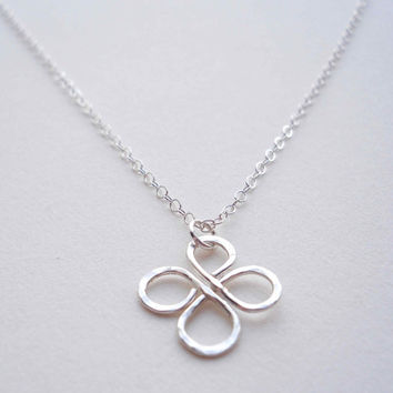 Silver Clover Necklace St. Patrick's Day Necklace Irish Necklace Four Leaf Clover Necklace 4 Leaf Clover Jewelry Silver Saint Patrick's Day