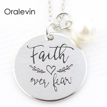 FAITH OVER FEAR Inspired Motivational Charms Pendant Necklace Jewelry Gift For Bestfriend 10Pcs/Lot,#LN315