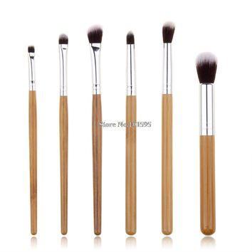 Professional 6 Pcs Bamboo Handle Eye Brushes Makeup Flat Brushes Cosmetics Professional Makeup Brush Set Hairbrush