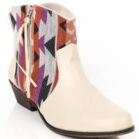 Ankle Western Boot with Aztec Print and Fringe Accent