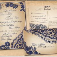 Printable VINTAGE WEDDING INVITATIONS Template  Navy by ABandIG