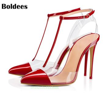 Boldees 2018 PVC Jelly Sandals T Strap Pointed Toed High Heels Women Transparent Heel Sandals Slippers Discount Pumps 11CM