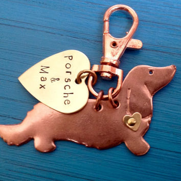 NEW Longhaired Dachshund Keychain. Doxie. Custom Copper Dachshund Jewelry.