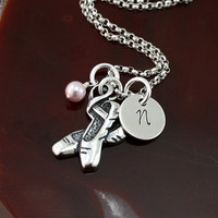 Tiny Dancer - Ballet Dance Necklace -  Sterling Silver Hand Stamped Personalized Necklace
