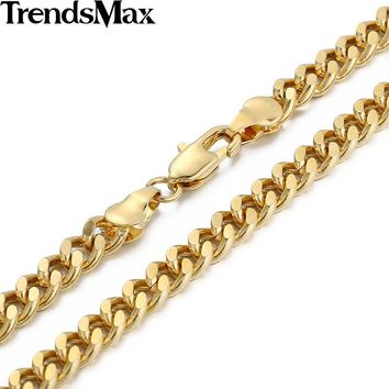 Trendsmax 3/4/6MM 18-36INCH Curb Cuban Gold Filled Necklace MENS Boys Chain High Quality Jewelry Gift GN143
