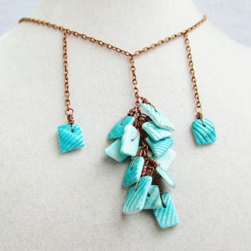 Boho Wire Wrapped Dangly Blue Shells Long Pendant Necklace
