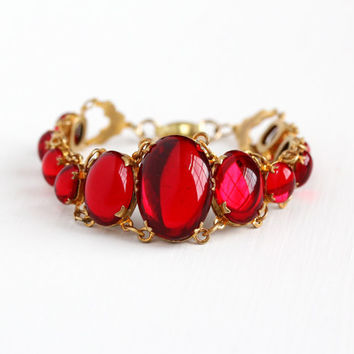 Vintage Brass Red Vauxhall Glass Simulated Ruby Cabochon Panel Bracelet - 1930s Art Deco Large Oval Stone Flower Statement Costume Jewelry
