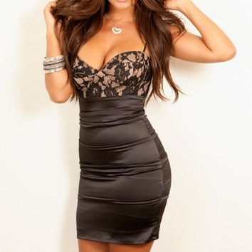 Sexy Dress Little Black Floral Lace Top - Party Dresses