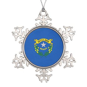 Snowflake Ornament with Nevada Flag