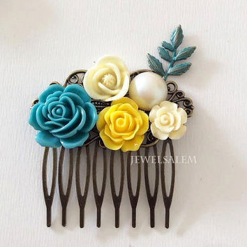 Teal Wedding Hair Comb Yellow Ivory Cream Floral Collage Hair Slide for Bride Modern Rustic Victorian Country Style Bridal Decorative Comb