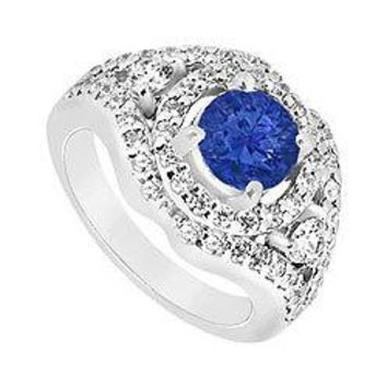 Sapphire and Diamond Engagement Ring : 14K White Gold - 1.50 CT TGW