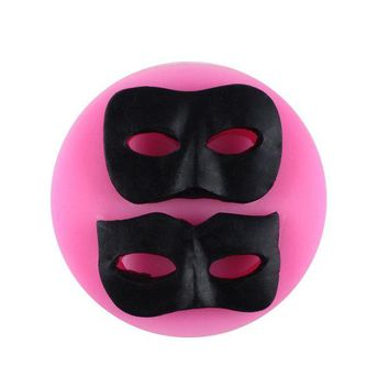 DCCKFS2 (3 pieces/lot) Brand new 7.3*1.1cm man and woman halloween mask shape sililcone fondant cake decorating DIY bakery accessories