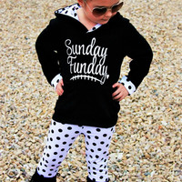 Sunday Funday Black & Polka Dot W/ Polka Dot Lined Hood and Sleeve Cuffs Boutique Outfit For Girls Infants Toddler Kids Clothes Winter
