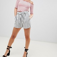 Boohoo Petite Striped Belted Shorts at asos.com