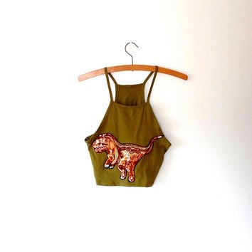 Sequin dino khaki crop top / sparkling / bronze / embroidered / applique / vintage / khaki top / cotton / stretchy / summer crop top